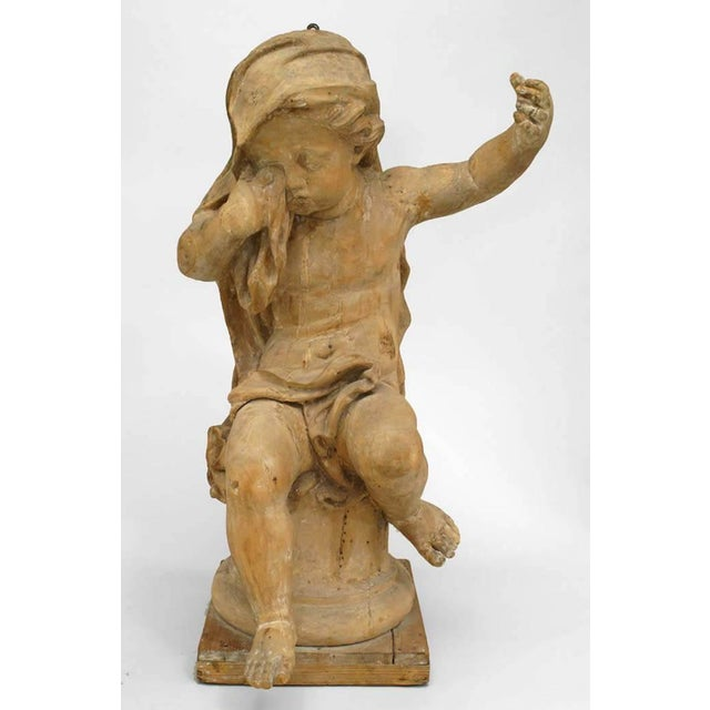 18th Century French Louis XVI Style Stripped Wood Life Size Putti - Set of 4 For Sale In New York - Image 6 of 12