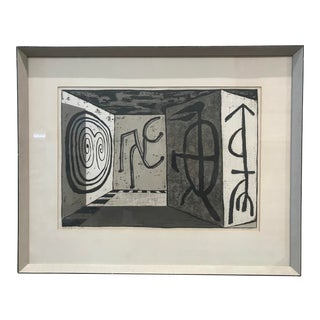 1950s New York Artist Edward Landon Woodblock Abstract Surrealist Print For Sale