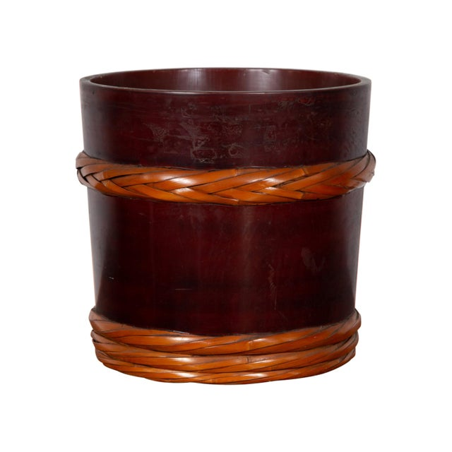 Vintage Chinese Wooden Barrel Planter with Rope Design with Red Undertone For Sale - Image 10 of 10