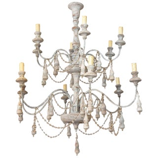 Italian Two-Tier Chandelier Strung with Beads and Tassels For Sale