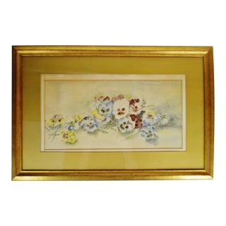 Antique Framed Floral Still Life Watercolor - Artist Signed For Sale