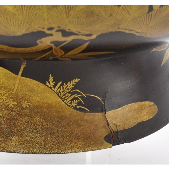 Antique Japanese Maki-E Lacquer Center Bowl For Sale - Image 5 of 6