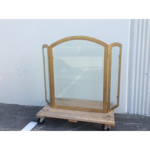 Art Deco Beautiful Gilt Metal and Glass Fire Screen For Sale - Image 3 of 9