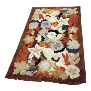 1960s Vintage Floral Hand-Knotted Wool Rug - 8′6″ × 5′5″ For Sale