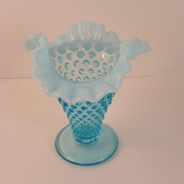 Fenton Blue Opalescent Glass Vase Chairish