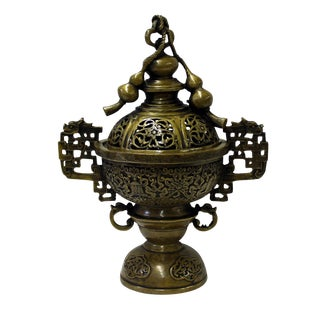 Chinese Oriental Fine Bronze Metal Incense Burner Display For Sale