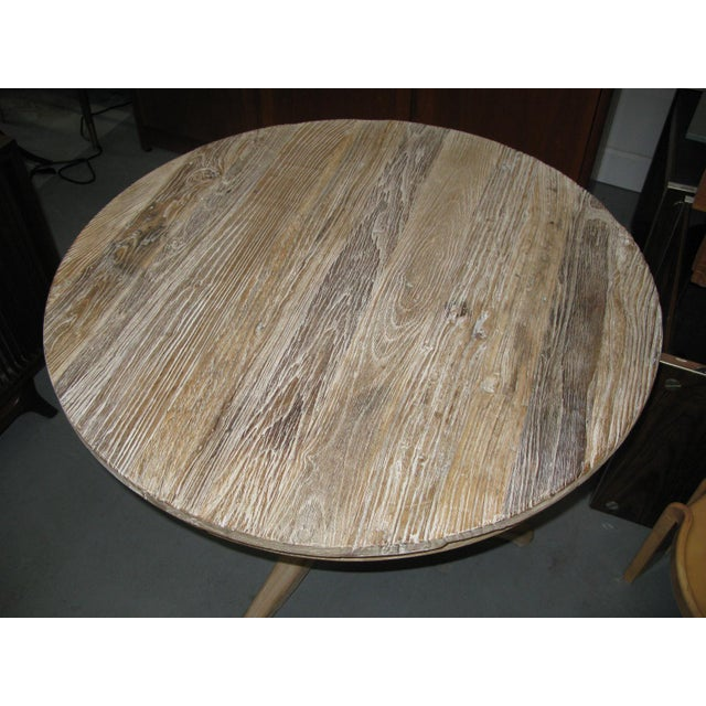 Wood White Round Distressed Table For Sale - Image 7 of 9