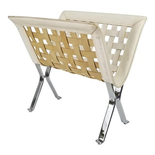1980's Italian Chrome and Woven White Leather Magazine Rack For Sale