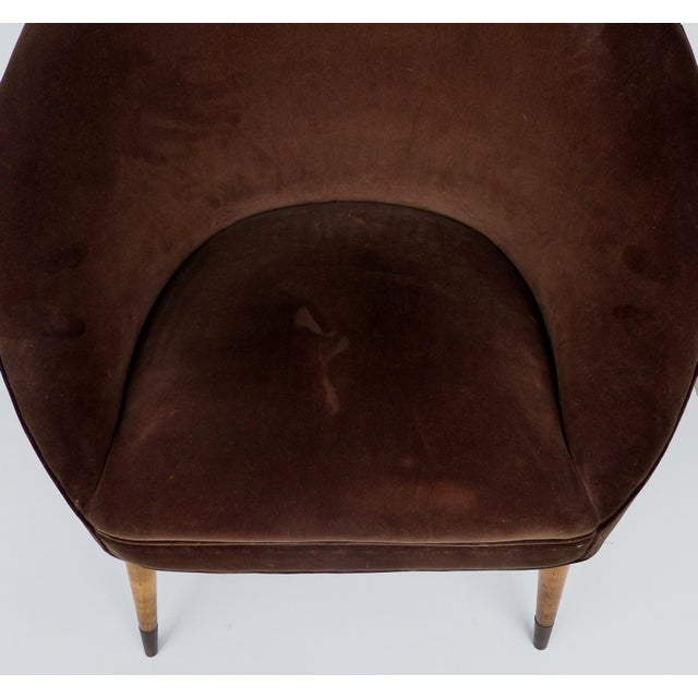 Brass Mid-Century Gio Ponti Style Club Chairs-A Pair For Sale - Image 7 of 11