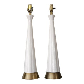 Mid-Century Obelisk Ceramic Table Lamps - A Pair