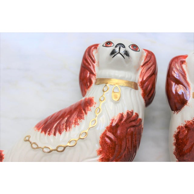 Ceramic 1950s Figurative Staffordshire Ceramic Spaniels Dogs - a Pair For Sale - Image 7 of 13