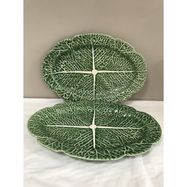 Late 20th Century Bordallo Pinheiro Green Cabbage Majolica Oval Platters - Set of 2 For Sale - Image 5 of 5