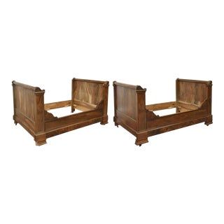1800s Antique FrenchAlcove Carved Walnut Day Beds - a Pair For Sale