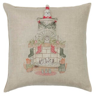 Contemporary Linen Chimney Santa Pocket Pillow For Sale