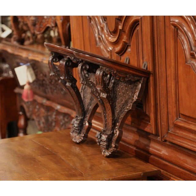 Late 19th Century 19th Century French Louis XIV Carved Walnut and Oak Wall Brackets-a Pair For Sale - Image 5 of 7