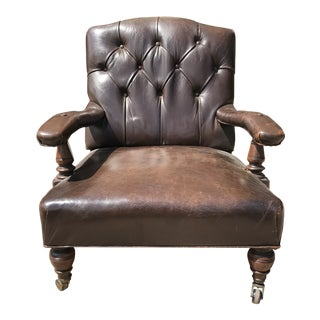 20th Century English Traditional Brown Leather Chair