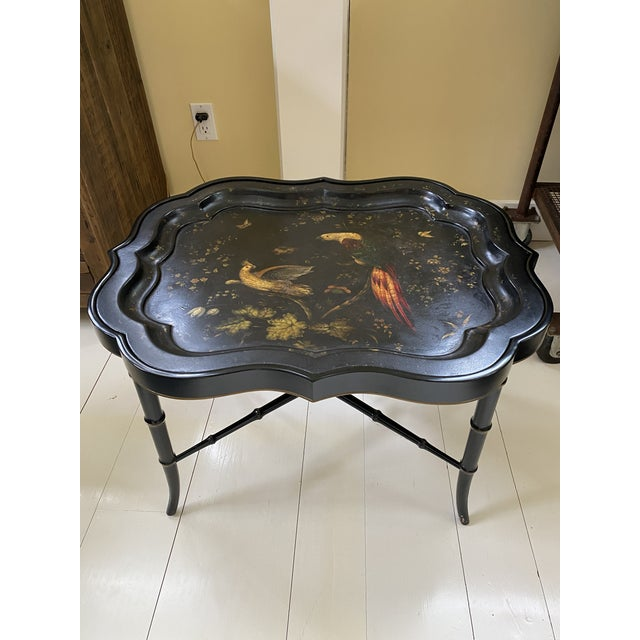 English Tray Top Table With Hand Painted Parrots For Sale - Image 13 of 13