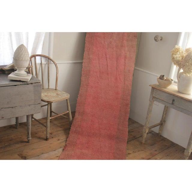 Vintage Rug European Long Woven Stair Runner Pink Red