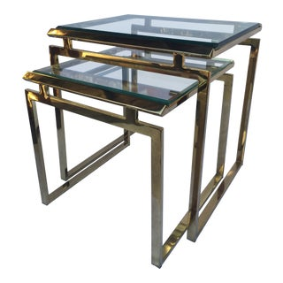 1970s Vintage Milo Baughman Brass and Beveled Glass Nesting Tables - A Pair For Sale