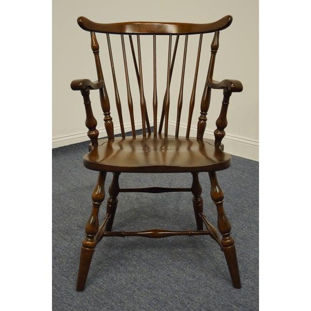 1970s Pennsylvania House Solid Cherry Fiddleback Duxbury Windsor Arm Chair For Sale - Image 5 of 12