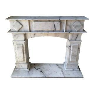 Vintage Carrara Marble Fireplace Surround Mantel For Sale