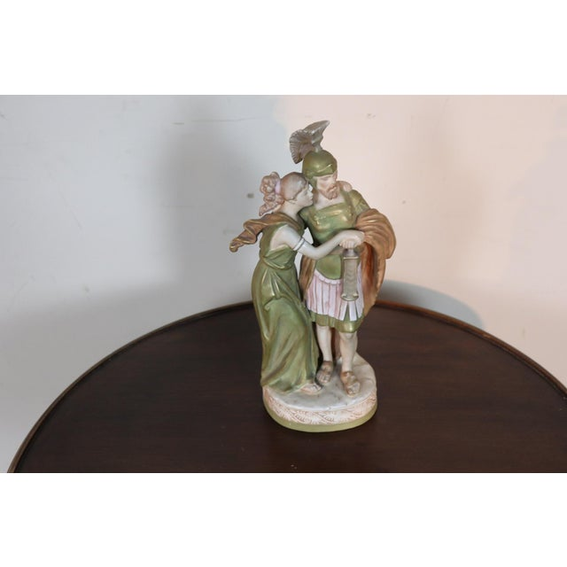 Green 20th Century Porcelain Sculpture Group Neoclassical Couple in Love by Royal Dux For Sale - Image 8 of 10