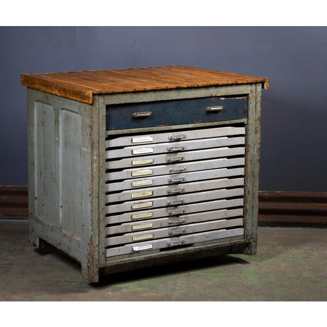 1920s Industrial Hamilton Flat File Printers Cabinet For Sale - Image 10 of 11