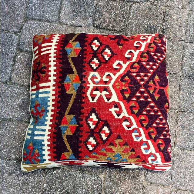 Vintage Red Geometric Turkish Kilim Pillow - Image 2 of 4