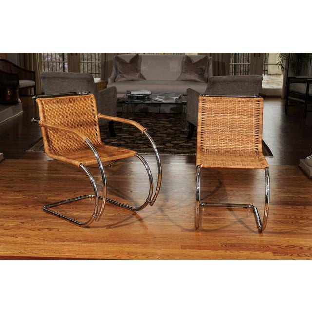 Wicker Pristine Set of Eight Italian Wicker Chairs For Sale - Image 7 of 10
