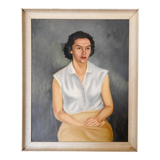 1940's Woman in Yellow Skirt Portrait Painting For Sale