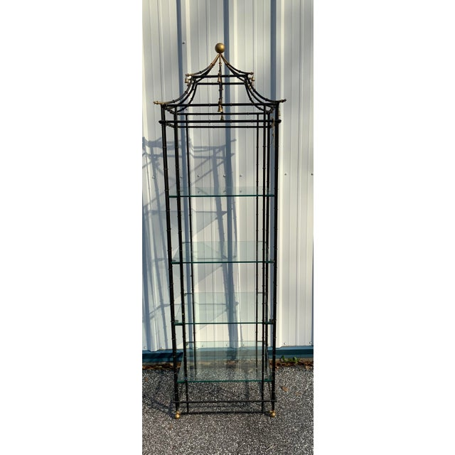 Metal Vintage Chinoiserie Pagoda Shaped Etagere Shelf For Sale - Image 7 of 7