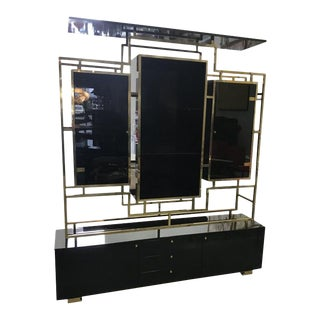 1970s Mid-Century Modern Romeo Rega Black Lacquer Cabinet For Sale