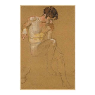 Early 20th Century Male Nude Pastel Drawing For Sale