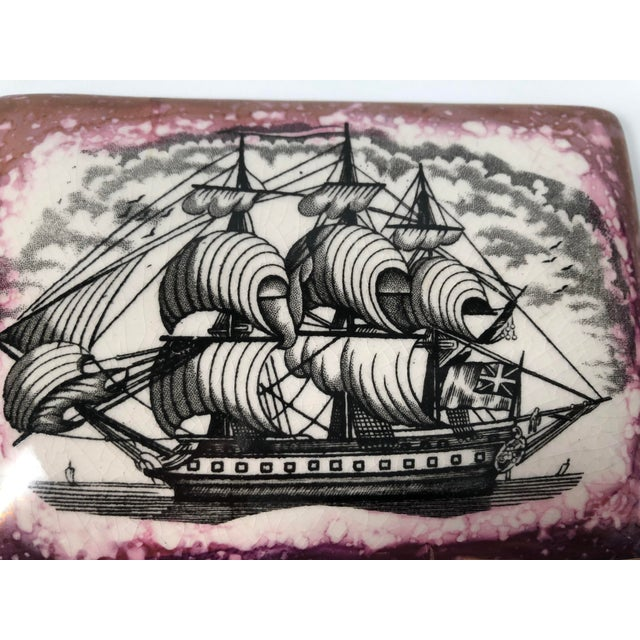 Staffordshire Sunderland Lustreware Porcelain Box With Sailor and Ship Theme For Sale - Image 11 of 12