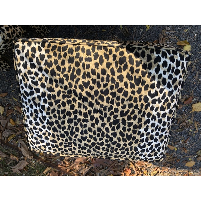 Mid-Century Modern Leopard Suede Upholstered X Benches - a Pair For Sale - Image 4 of 7