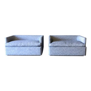 Pair of Custom Chambray Love Seats For Sale