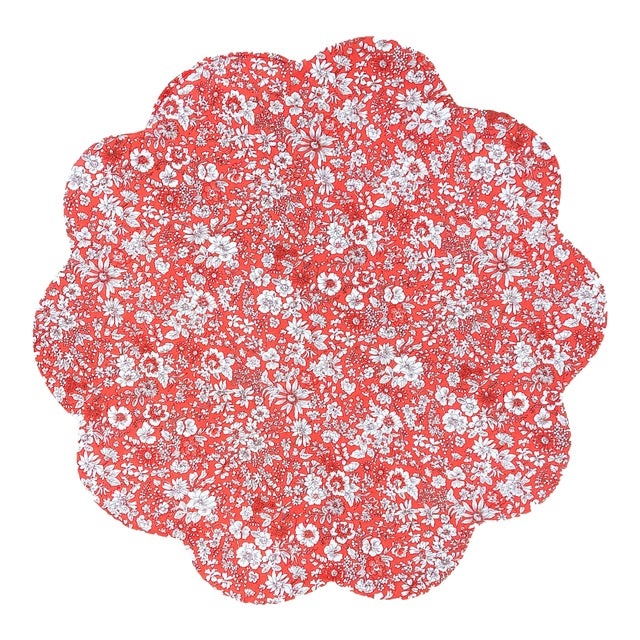 Liberty of London Scalloped Placemat Red Holiday Floral - Set of 4 For Sale