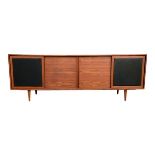 Danish Modern Rosewood Credenza With Black Leather Accents For Sale