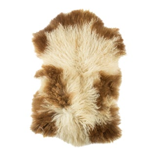 "Long Wool Sheepskin Pelt, Handmade Rug 1'8""x2'8"" For Sale"