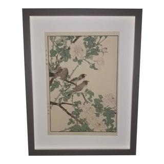 "Imao Keinen ""A Flock of Birds Above a Rose Bush"" Custom Framed Original Art For Sale"
