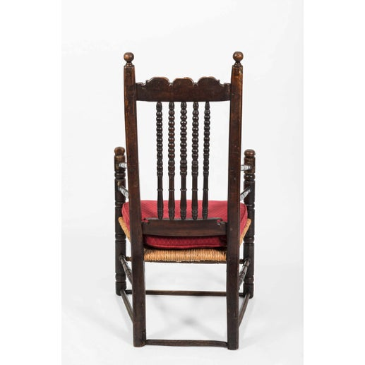 18th Century Vintage English Oak Bannister Armchair For Sale - Image 9 of 11