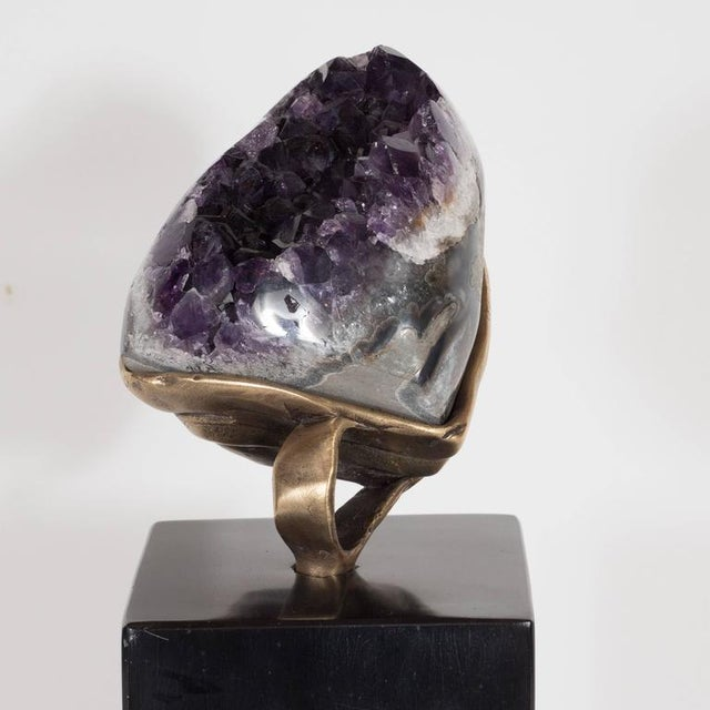 Belgian Amethyst Geode with a Sculptural Bronze Display Stand and Black Marble Base For Sale - Image 3 of 9