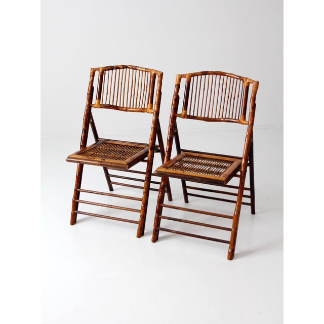 Bamboo Vintage Bamboo Folding Chairs - a Pair For Sale - Image 7 of 10
