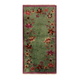 Pasargad Green Knotted Chinese Art Deco Rug- 2′ × 3′11″ For Sale