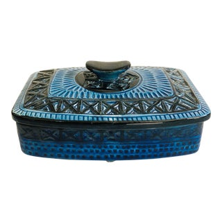 Mid Century Blue Pottery Box For Sale