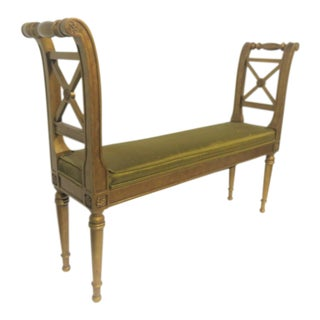 Louis XVI Gold X Carved Bench For Sale