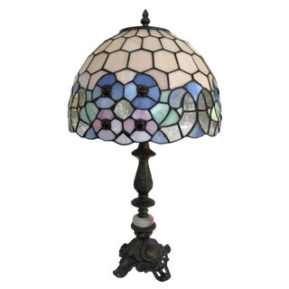 Slag Glass Tiffany Style Table Lamp For Sale