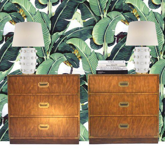 Vintage campaign chest pair, matching 3 drawer Campaign dressers, Iconic Hollywood Regency Bachelor chest set. Campaign...