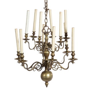 18th Century Baltic Brass 12 Light Chandelier For Sale