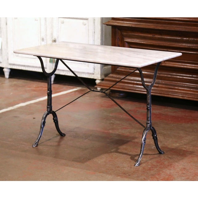 Early 20th Century French Polished Iron and Marble-Top Bistrot Table For Sale - Image 10 of 10